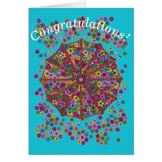 花パラソルのお祝いカード カード