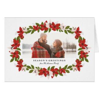花フレームによって折られる休日の写真の挨拶状 グリーティングカード