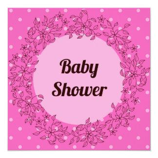 花フレームのピンクのベビーシャワー カード