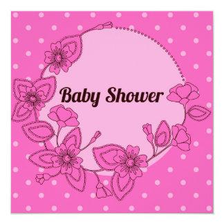 花フレームのピンク2のベビーシャワー カード