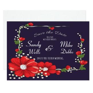 花フレームの保存日付 カード