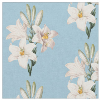 花ヴィンテージの白いユリ ファブリック