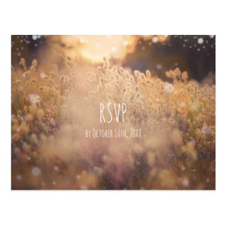 花分野の素朴な国の日没の薄暗がりRSVP ポストカード