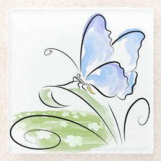 花分野上の草に坐っている蝶 ガラスコースター