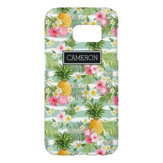 花及びパイナップルティール(緑がかった色)は|を加えますあなたの名前を縞で飾ります SAMSUNG GALAXY S7 ケース