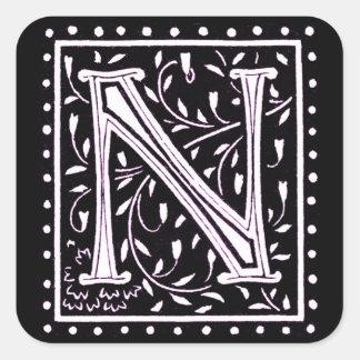 花及び点のモノグラムの` N」 スクエアシール