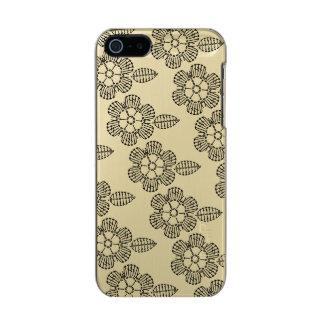 花及び葉のかぎ針編みの図表パターン(タイルを張られる) メタリックiPhone SE/5/5sケース