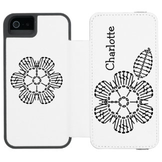 花及び葉のかぎ針編みの図表パターン INCIPIO WATSON™ iPhone 5 ウォレット ケース
