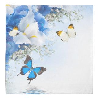 花及び蝶(1人の側面)女王の羽毛布団カバー 掛け布団カバー