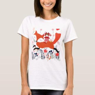 花園の赤いフードの乗馬の女の子そして孤 Tシャツ