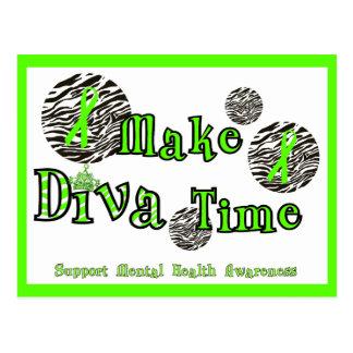 花型女性歌手に精神衛生の認識度を時間を計るか、または支えさせます ポストカード