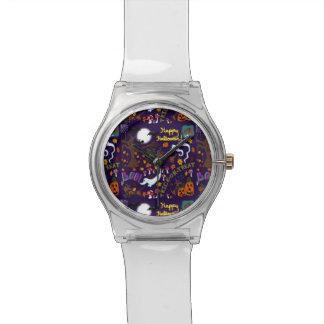 花型女性歌手のダックスフントのハロウィン 腕時計