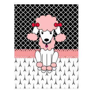 花型女性歌手のピンクのパリのレトロのカスタムでガーリーなプードル ポストカード