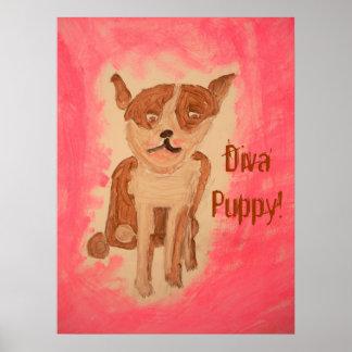 花型女性歌手の小犬ポスター ポスター