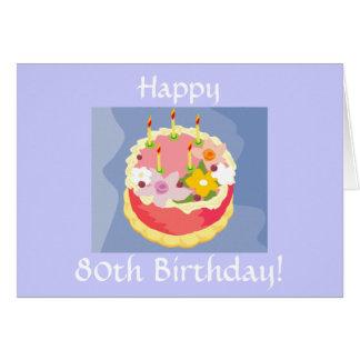 花型女性歌手の幸せな第80バースデー・カード カード