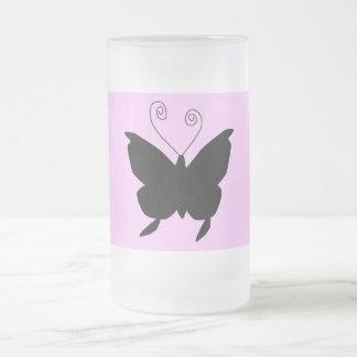花型女性歌手の蝶 フロストグラスマグカップ