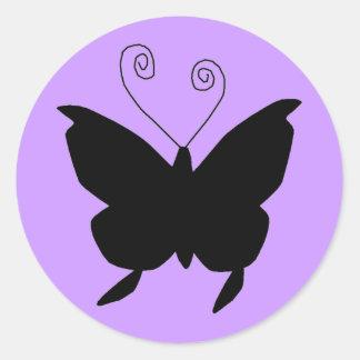 花型女性歌手の蝶 丸形シールステッカー