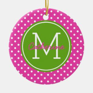 花型女性歌手ピンクの緑のAppleおよび白い水玉模様のモノグラム セラミックオーナメント