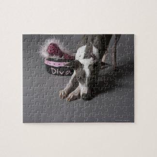 花型女性歌手ボール、くんくんかぐ床を持つ犬 ジグソーパズル