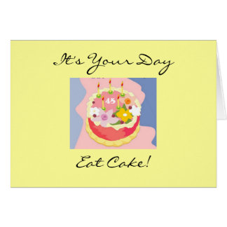 花型女性歌手第45のお誕生日ケーキの挨拶状 カード