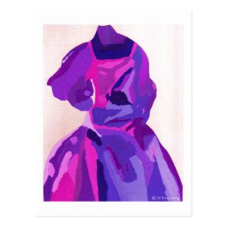 花型女性歌手 ファッショニスタ 青い ポストカード