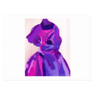 花型女性歌手|ファッショニスタ|青い ポストカード