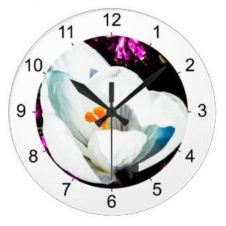 花壇のクロッカス ラージ壁時計