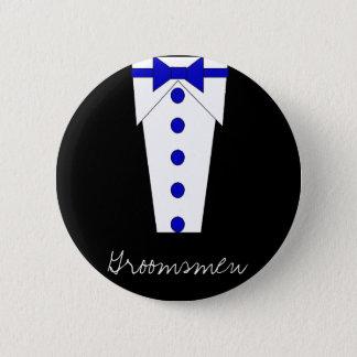 花婿の付添人ボタン(青い) 5.7CM 丸型バッジ