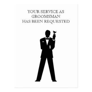 花婿介添人または花婿の付添人の郵便はがきの招待 ポストカード