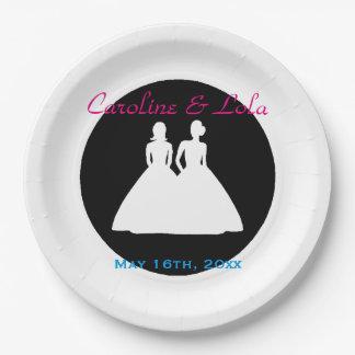 花嫁および花嫁のレズビアンの結婚式 ペーパープレート