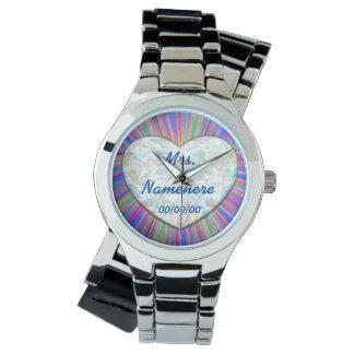 花嫁のための秒読みの結婚式の腕時計! 名前を加えて下さい! 日付 腕時計