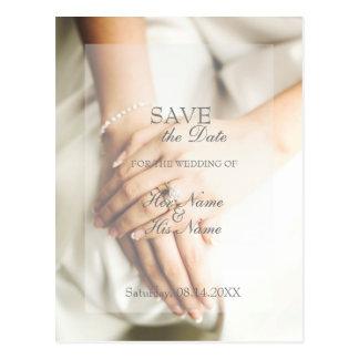 花嫁のダイヤモンド指輪の結婚式の保存日付 ポストカード