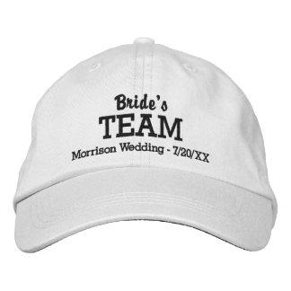 花嫁のチームカスタムな結婚式の野球帽の名前の日付 刺繍入りキャップ
