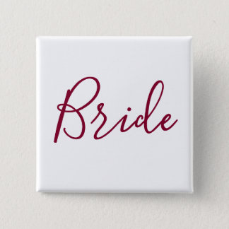 花嫁のバーガンディのフォント 5.1CM 正方形バッジ