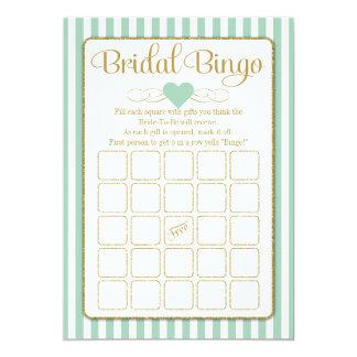 花嫁のビンゴのミントの緑金ゴールドのブライダルシャワーのゲーム カード