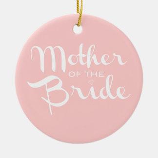 花嫁のピンクのレトロの原稿の白の母 セラミックオーナメント