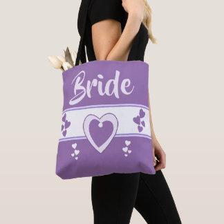 花嫁の名前を結婚する紫色および薄紫 トートバッグ
