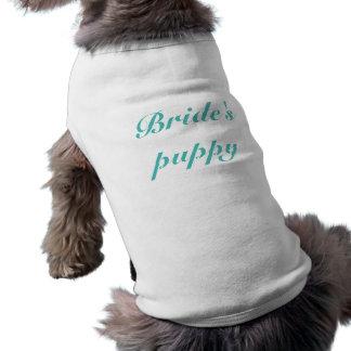 花嫁の子犬のティール(緑がかった色)の文字犬を個人化して下さい ペット服