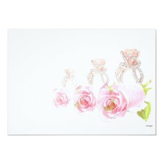 花嫁の招待状またはオリジナルのバラのつぼみ及びリングの芸術 12.7 X 17.8 インビテーションカード