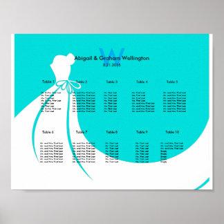 花嫁の服の結婚式の座席の図表 ポスター