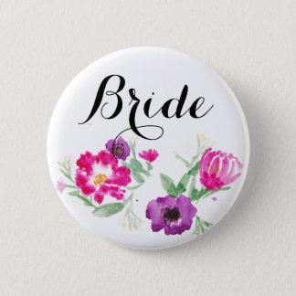 花嫁の水彩画によってはボタンが開花します 5.7CM 丸型バッジ