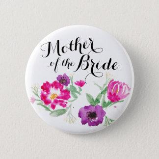 花嫁の水彩画の母によってはボタンが開花します 5.7CM 丸型バッジ