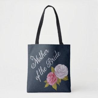 花嫁の濃紺の白いヴィンテージの花の母 トートバッグ