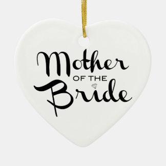 花嫁の白のレトロの原稿の黒の母 セラミックオーナメント