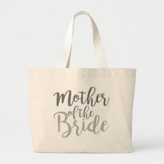 花嫁の筆記体のグラデーションののモダンな母 ラージトートバッグ