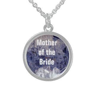 花嫁の素朴で青いギフトの母 スターリングシルバーネックレス