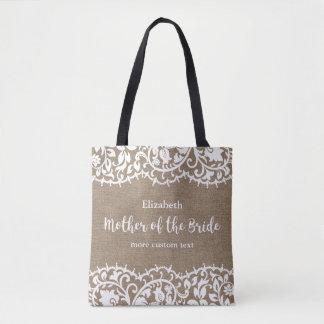 花嫁の素朴なレースのバーラップのカスタムの母 トートバッグ
