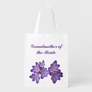 花嫁の紫色の花の結婚式の祖母 エコバッグ