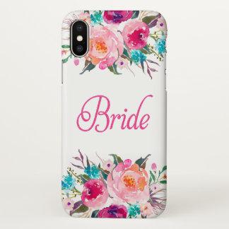 花嫁の花のピンクのグリッターのZazzleのiPhone Xの場合 iPhone X ケース
