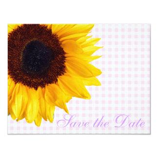 花嫁の花のピンクの国のギンガムのヒマワリのモダン カード